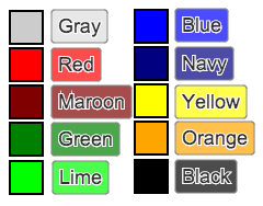 An example of the ten color options for structures and labels