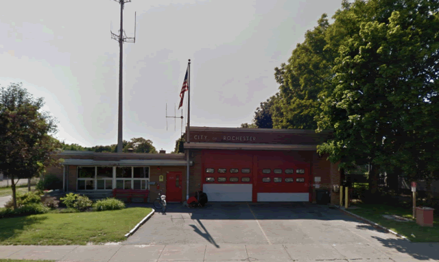 Front view of fire house